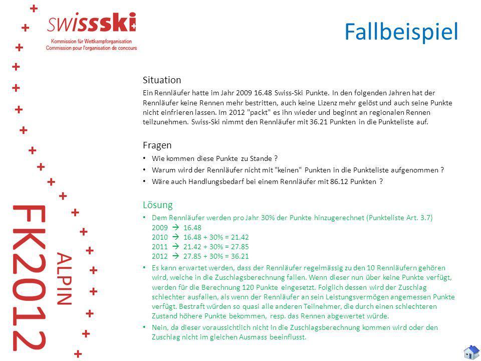 Fallbeispiel Situation Ein Rennläufer hatte im Jahr 2009 16.48 Swiss-Ski Punkte. In den folgenden Jahren hat der Rennläufer keine Rennen mehr bestritt