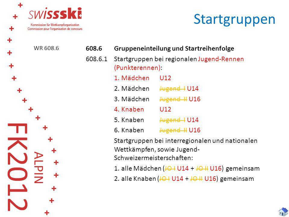 Startgruppen 608.6 Gruppeneinteilung und Startreihenfolge 608.6.1 Startgruppen bei regionalen Jugend-Rennen (Punkterennen): 1. MädchenU12 2. MädchenJu
