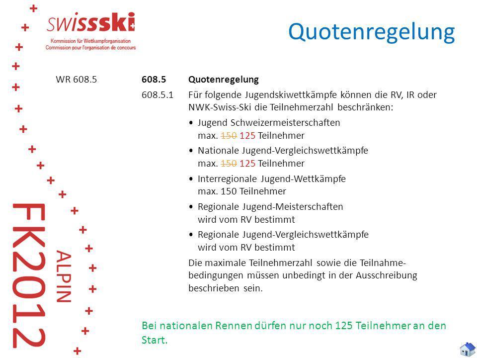 Quotenregelung 608.5 Quotenregelung 608.5.1 Für folgende Jugendskiwettkämpfe können die RV, IR oder NWK-Swiss-Ski die Teilnehmerzahl beschränken: Juge