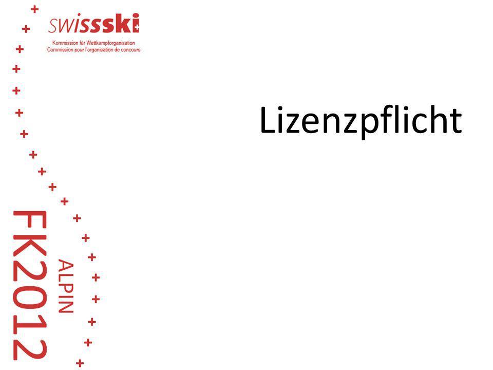 203.2.1Gültige Swiss-Ski Lizenz für Für folgende Wettkämpfe ist eine gültige Swiss-Ski Lizenz notwendig: Schweizermeisterschaften FIS Wettkämpfe Jugend Punkterennen Regionale Wettkämpfe (A- und B-Rennen) Gültiger Mitgliederausweis für: Regionale Wettkämpfe Die Lizenzpflicht wird auf A- und B-Rennen, sowie die Masters ausgedehnt.