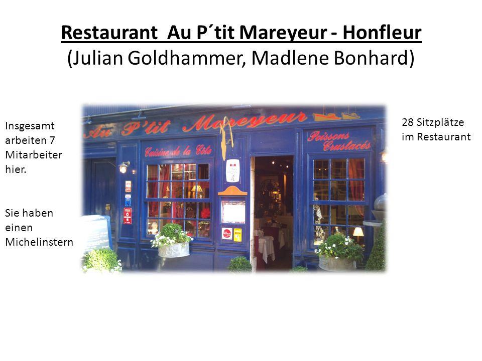 Restaurant Au P´tit Mareyeur - Honfleur (Julian Goldhammer, Madlene Bonhard) 28 Sitzplätze im Restaurant Insgesamt arbeiten 7 Mitarbeiter hier. Sie ha