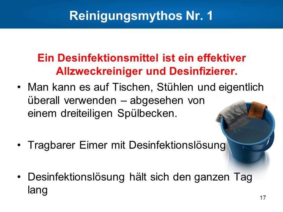 Reinigungsmythos Nr. 1 Ein Desinfektionsmittel ist ein effektiver Allzweckreiniger und Desinfizierer. Man kann es auf Tischen, Stühlen und eigentlich