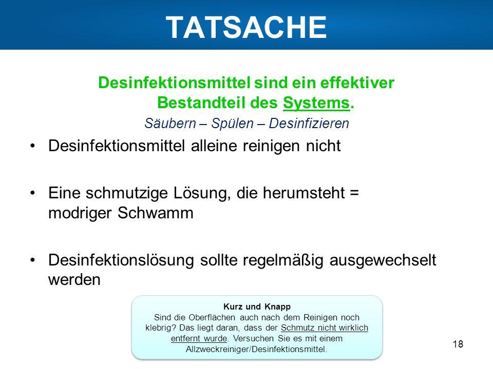 TATSACHE Desinfektionsmittel sind ein effektiver Bestandteil des Systems. Säubern – Spülen – Desinfizieren Desinfektionsmittel alleine reinigen nicht