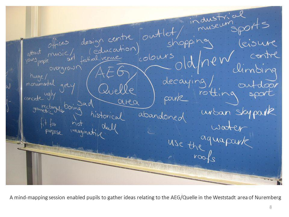 A mind-mapping session enabled pupils to gather ideas relating to the AEG/Quelle in the Weststadt area of Nuremberg 8