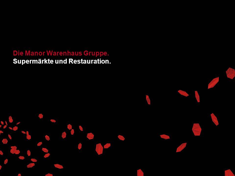 Die Manor Warenhaus Gruppe. Supermärkte und Restauration.