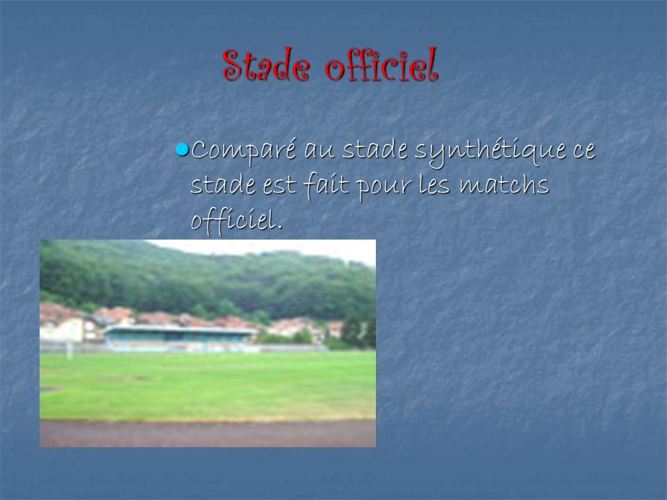 Stade officiel Comparé au stade synthétique ce stade est fait pour les matchs officiel. Comparé au stade synthétique ce stade est fait pour les matchs