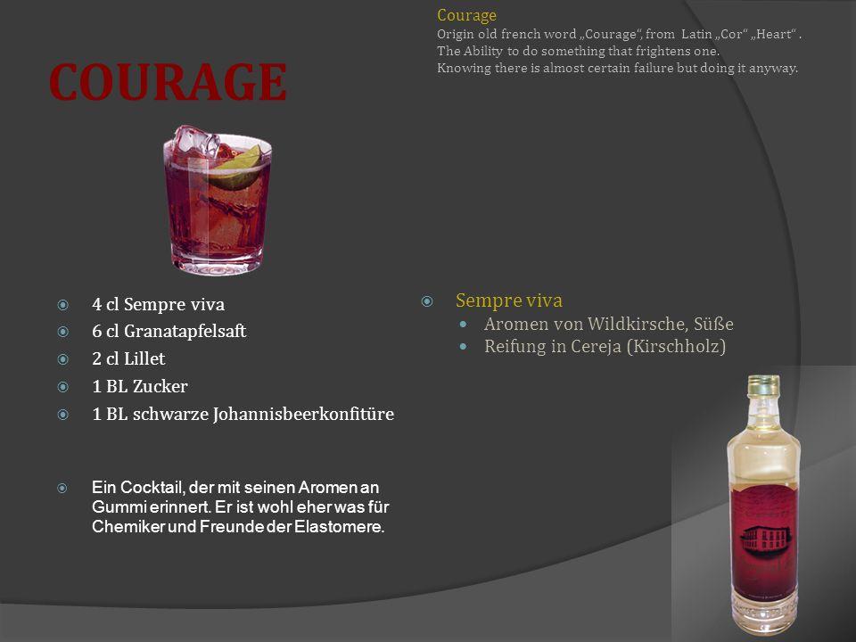 COURAGE 4 cl Sempre viva 6 cl Granatapfelsaft 2 cl Lillet 1 BL Zucker 1 BL schwarze Johannisbeerkonfitüre Ein Cocktail, der mit seinen Aromen an Gummi erinnert.
