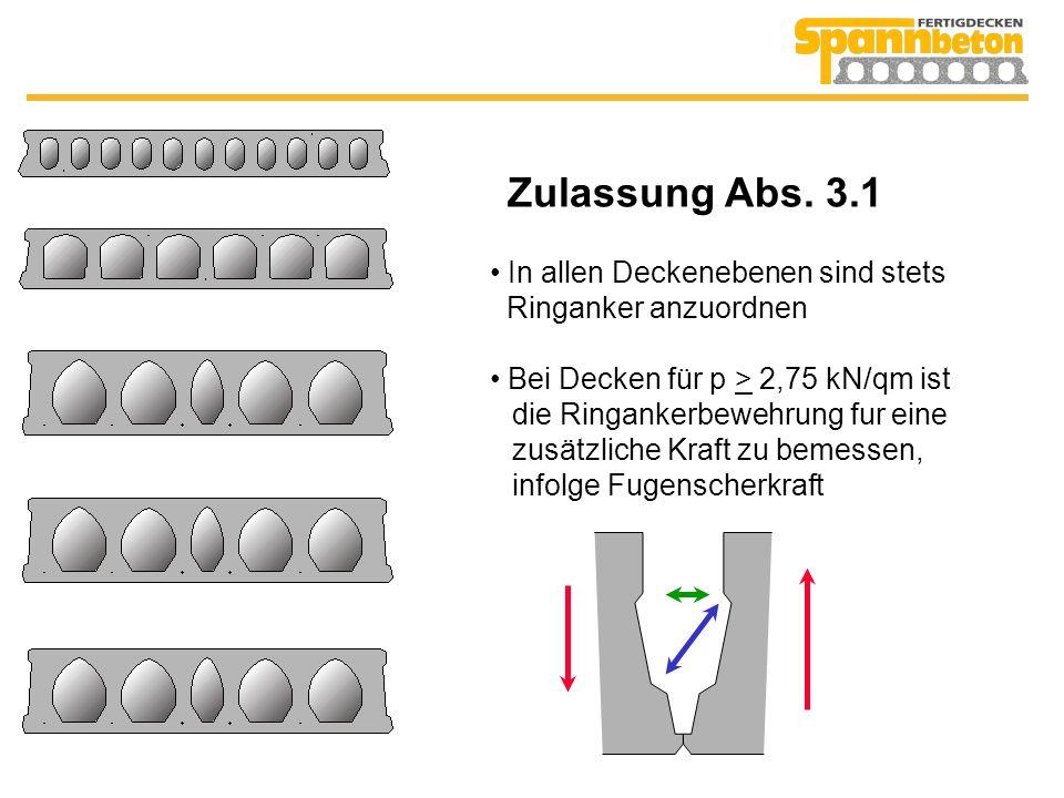 Zulassung Abs. 3.1 In allen Deckenebenen sind stets Ringanker anzuordnen Bei Decken für p > 2,75 kN/qm ist die Ringankerbewehrung fur eine zusätzliche