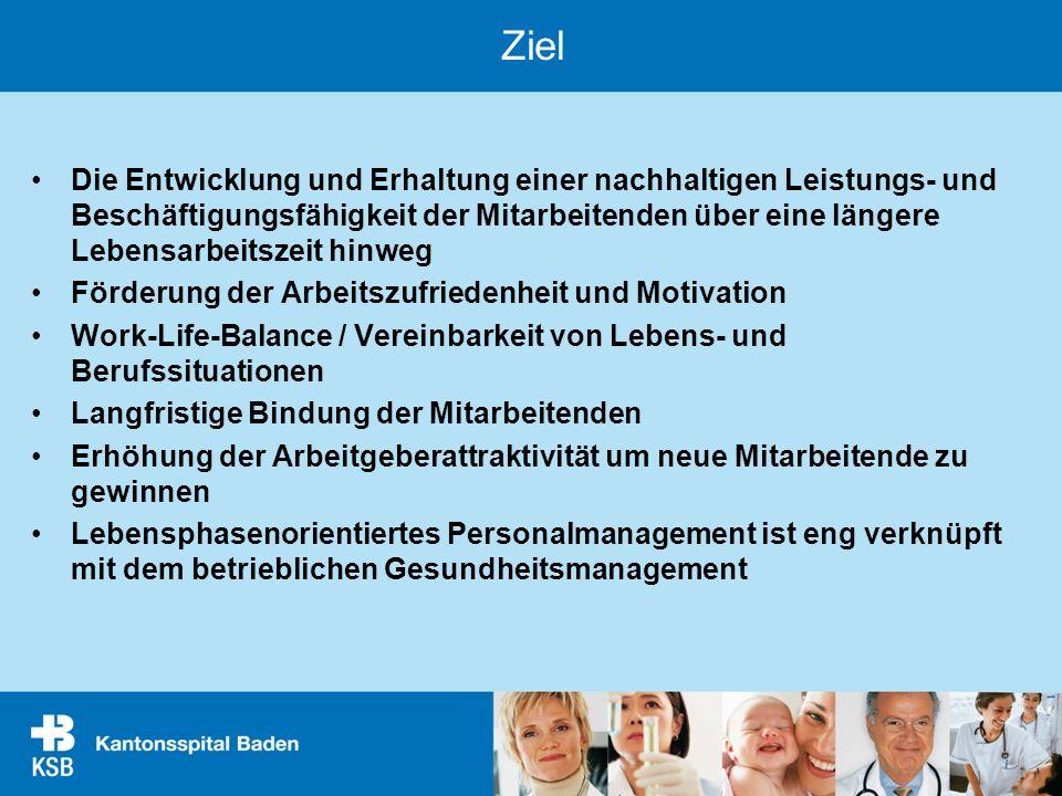 Ziel Die Entwicklung und Erhaltung einer nachhaltigen Leistungs- und Beschäftigungsfähigkeit der Mitarbeitenden über eine längere Lebensarbeitszeit hi