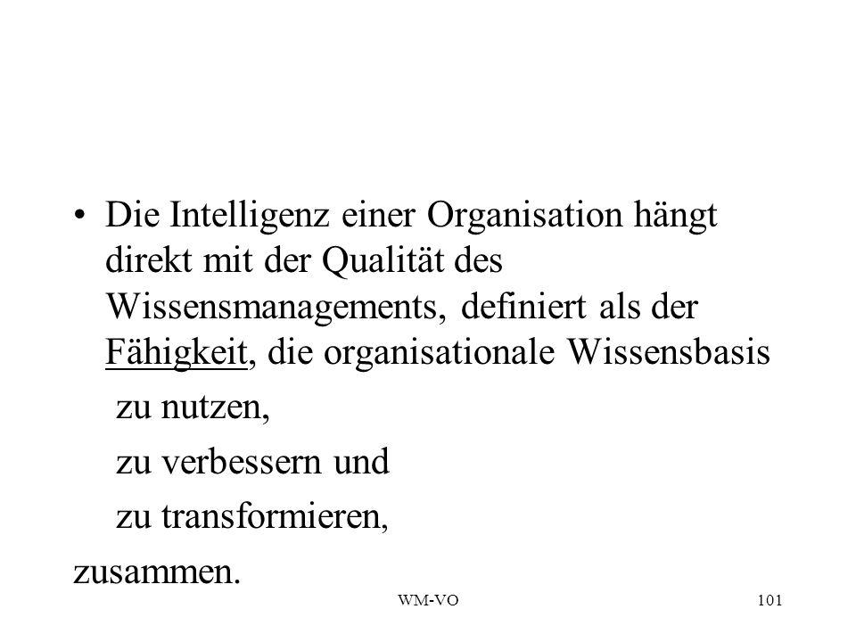 WM-VO101 Die Intelligenz einer Organisation hängt direkt mit der Qualität des Wissensmanagements, definiert als der Fähigkeit, die organisationale Wissensbasis zu nutzen, zu verbessern und zu transformieren, zusammen.