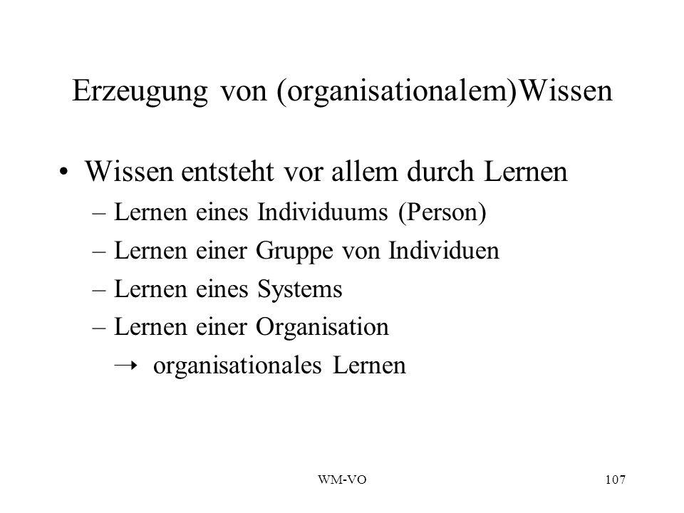 WM-VO107 Erzeugung von (organisationalem)Wissen Wissen entsteht vor allem durch Lernen –Lernen eines Individuums (Person) –Lernen einer Gruppe von Individuen –Lernen eines Systems –Lernen einer Organisation organisationales Lernen