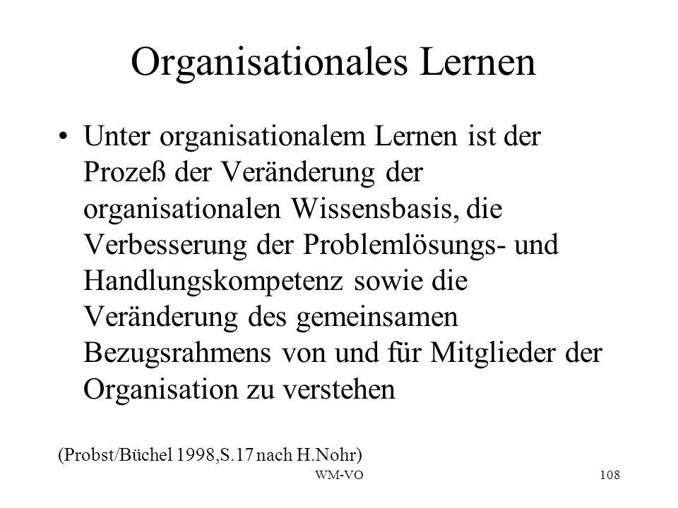 WM-VO108 Organisationales Lernen Unter organisationalem Lernen ist der Prozeß der Veränderung der organisationalen Wissensbasis, die Verbesserung der Problemlösungs- und Handlungskompetenz sowie die Veränderung des gemeinsamen Bezugsrahmens von und für Mitglieder der Organisation zu verstehen (Probst/Büchel 1998,S.17 nach H.Nohr)