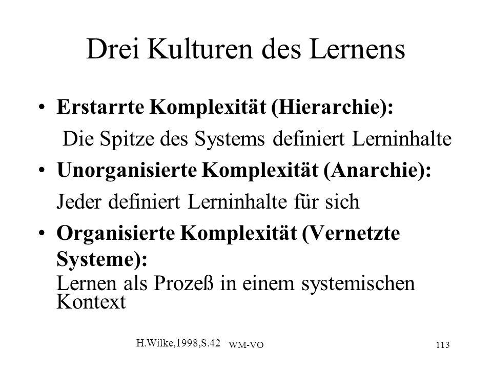 WM-VO113 Drei Kulturen des Lernens Erstarrte Komplexität (Hierarchie): Die Spitze des Systems definiert Lerninhalte Unorganisierte Komplexität (Anarchie): Jeder definiert Lerninhalte für sich Organisierte Komplexität (Vernetzte Systeme): Lernen als Prozeß in einem systemischen Kontext H.Wilke,1998,S.42