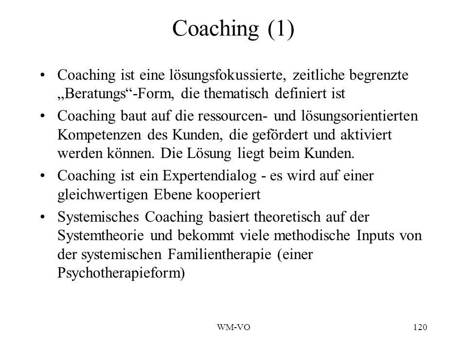 WM-VO120 Coaching (1) Coaching ist eine lösungsfokussierte, zeitliche begrenzte Beratungs-Form, die thematisch definiert ist Coaching baut auf die ressourcen- und lösungsorientierten Kompetenzen des Kunden, die gefördert und aktiviert werden können.