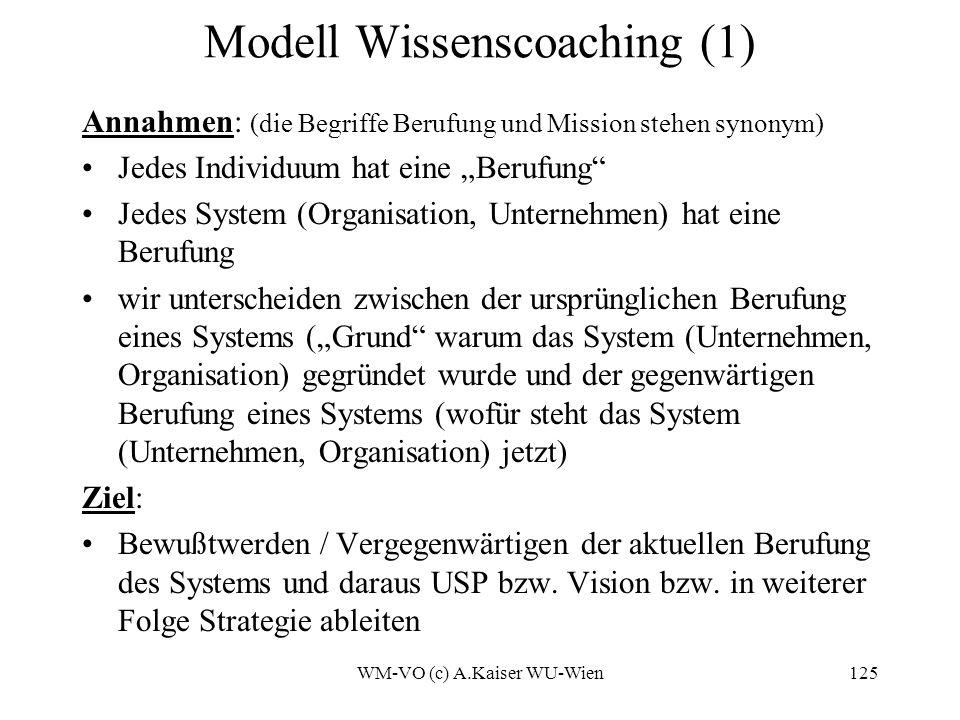 WM-VO (c) A.Kaiser WU-Wien125 Modell Wissenscoaching (1) Annahmen: (die Begriffe Berufung und Mission stehen synonym) Jedes Individuum hat eine Berufung Jedes System (Organisation, Unternehmen) hat eine Berufung wir unterscheiden zwischen der ursprünglichen Berufung eines Systems (Grund warum das System (Unternehmen, Organisation) gegründet wurde und der gegenwärtigen Berufung eines Systems (wofür steht das System (Unternehmen, Organisation) jetzt) Ziel: Bewußtwerden / Vergegenwärtigen der aktuellen Berufung des Systems und daraus USP bzw.