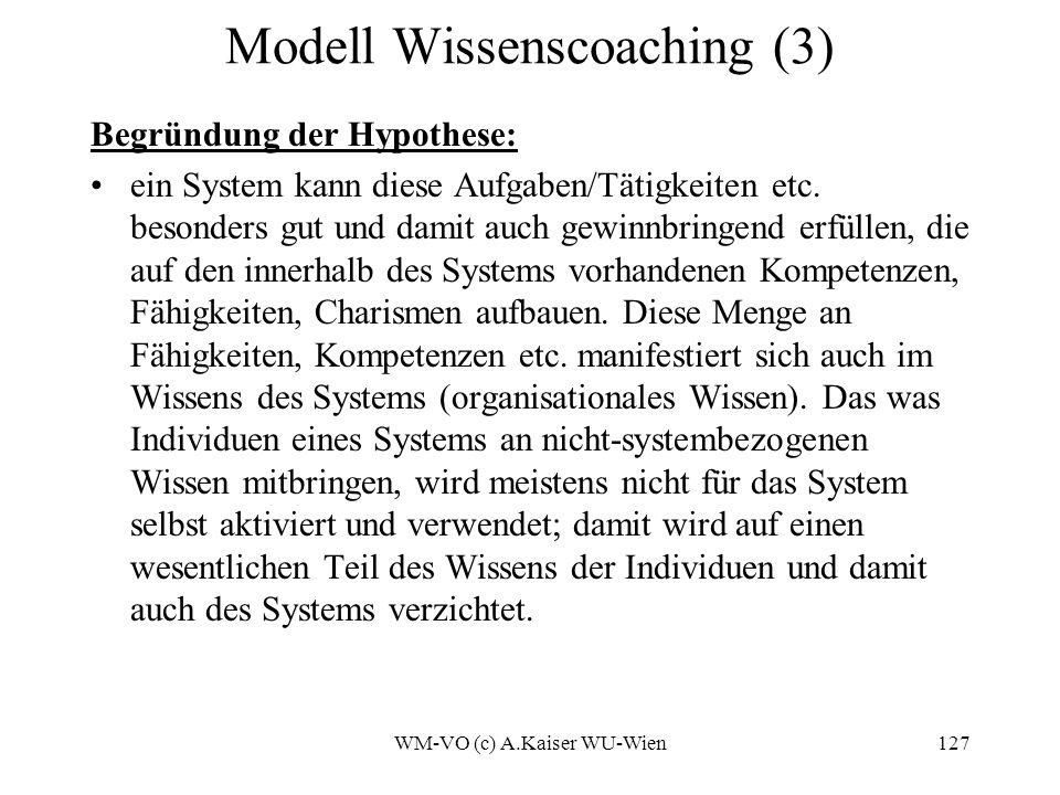 WM-VO (c) A.Kaiser WU-Wien127 Modell Wissenscoaching (3) Begründung der Hypothese: ein System kann diese Aufgaben/Tätigkeiten etc.