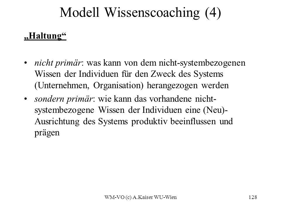 WM-VO (c) A.Kaiser WU-Wien128 Modell Wissenscoaching (4) Haltung nicht primär: was kann von dem nicht-systembezogenen Wissen der Individuen für den Zweck des Systems (Unternehmen, Organisation) herangezogen werden sondern primär: wie kann das vorhandene nicht- systembezogene Wissen der Individuen eine (Neu)- Ausrichtung des Systems produktiv beeinflussen und prägen
