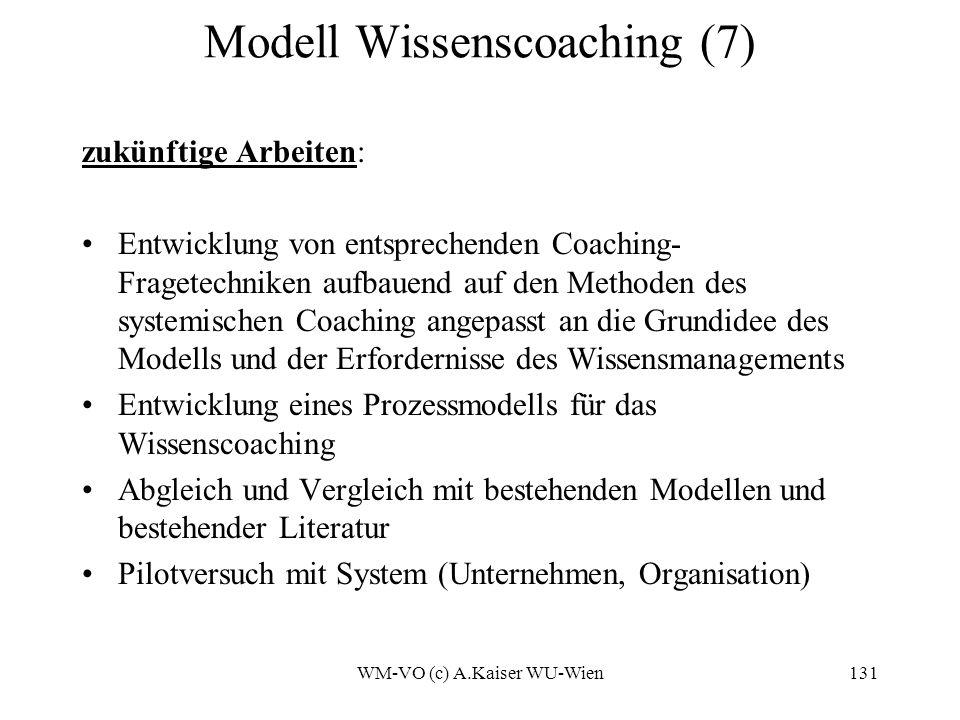 WM-VO (c) A.Kaiser WU-Wien131 Modell Wissenscoaching (7) zukünftige Arbeiten: Entwicklung von entsprechenden Coaching- Fragetechniken aufbauend auf den Methoden des systemischen Coaching angepasst an die Grundidee des Modells und der Erfordernisse des Wissensmanagements Entwicklung eines Prozessmodells für das Wissenscoaching Abgleich und Vergleich mit bestehenden Modellen und bestehender Literatur Pilotversuch mit System (Unternehmen, Organisation)