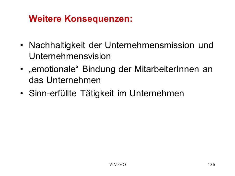 WM-VO136 Weitere Konsequenzen: Nachhaltigkeit der Unternehmensmission und Unternehmensvision emotionale Bindung der MitarbeiterInnen an das Unternehmen Sinn-erfüllte Tätigkeit im Unternehmen