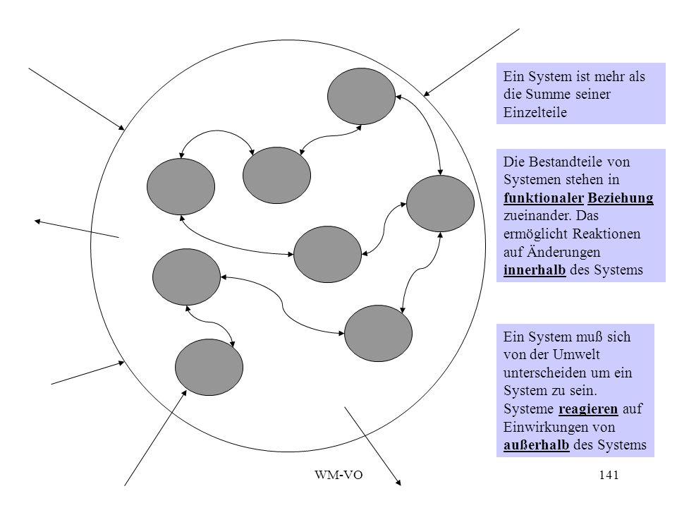 WM-VO141 Die Bestandteile von Systemen stehen in funktionaler Beziehung zueinander.