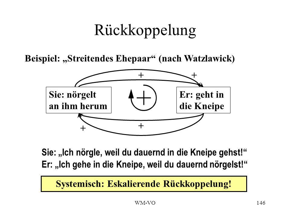 WM-VO146 Zwei isolierte Problemlösungen Rückkoppelung Beispiel: Streitendes Ehepaar (nach Watzlawick) Sie: nörgelt an ihm herum Er: geht in die Kneipe Sie: Ich nörgle, weil du dauernd in die Kneipe gehst.