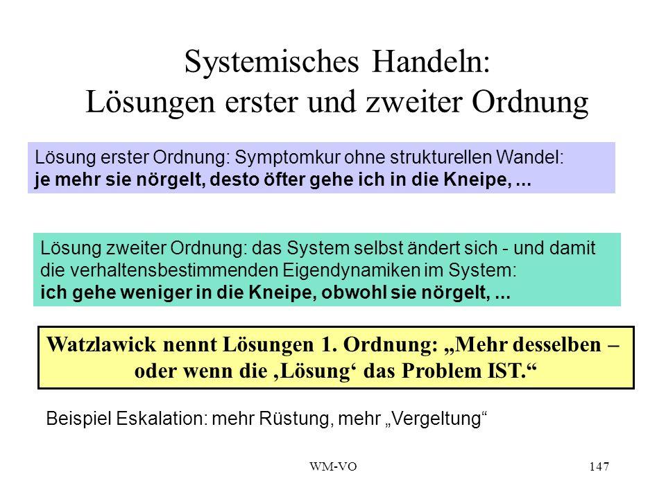 WM-VO147 Systemisches Handeln: Lösungen erster und zweiter Ordnung Lösung erster Ordnung: Symptomkur ohne strukturellen Wandel: je mehr sie nörgelt, desto öfter gehe ich in die Kneipe,...