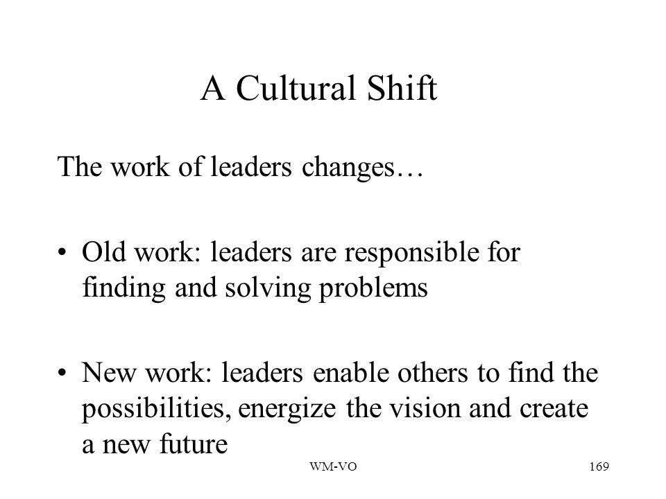 WM-VO169 A Cultural Shift The work of leaders changes… Old work: leaders are responsible for finding and solving problems New work: leaders enable others to find the possibilities, energize the vision and create a new future
