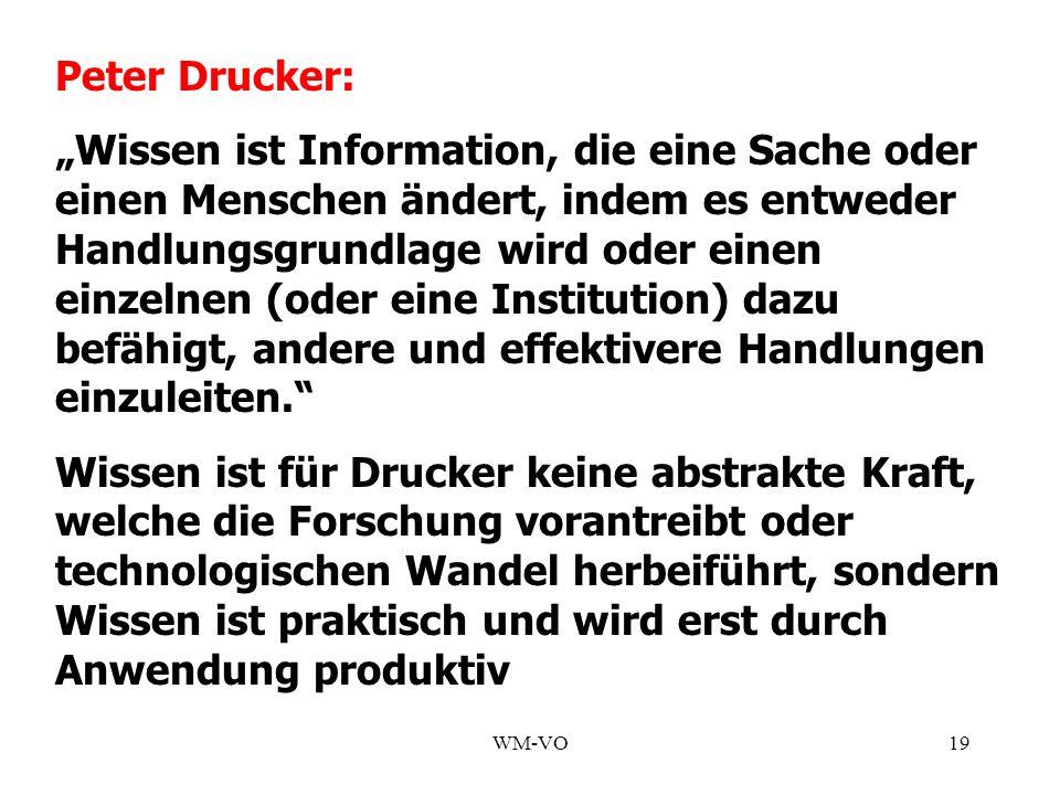 WM-VO19 Peter Drucker: Wissen ist Information, die eine Sache oder einen Menschen ändert, indem es entweder Handlungsgrundlage wird oder einen einzelnen (oder eine Institution) dazu befähigt, andere und effektivere Handlungen einzuleiten.