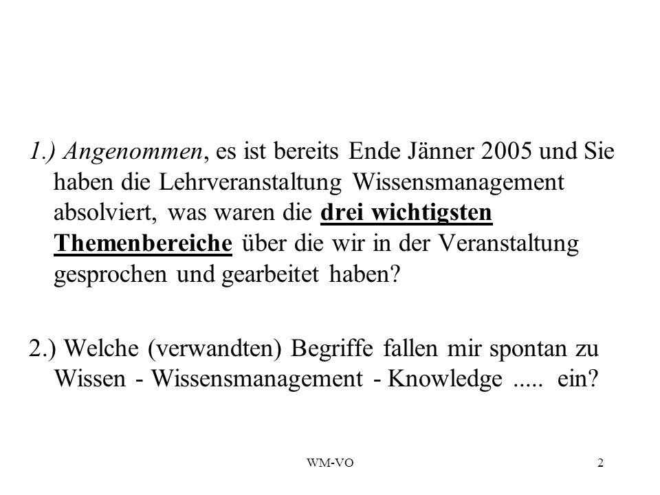 WM-VO2 1.) Angenommen, es ist bereits Ende Jänner 2005 und Sie haben die Lehrveranstaltung Wissensmanagement absolviert, was waren die drei wichtigsten Themenbereiche über die wir in der Veranstaltung gesprochen und gearbeitet haben.