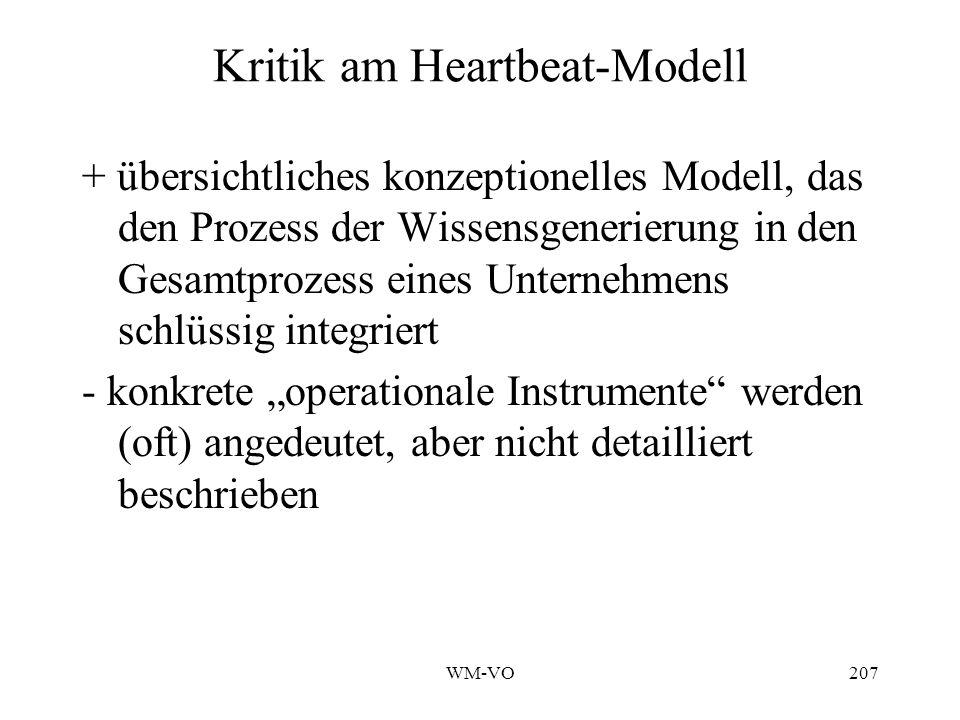 WM-VO207 Kritik am Heartbeat-Modell + übersichtliches konzeptionelles Modell, das den Prozess der Wissensgenerierung in den Gesamtprozess eines Unternehmens schlüssig integriert - konkrete operationale Instrumente werden (oft) angedeutet, aber nicht detailliert beschrieben