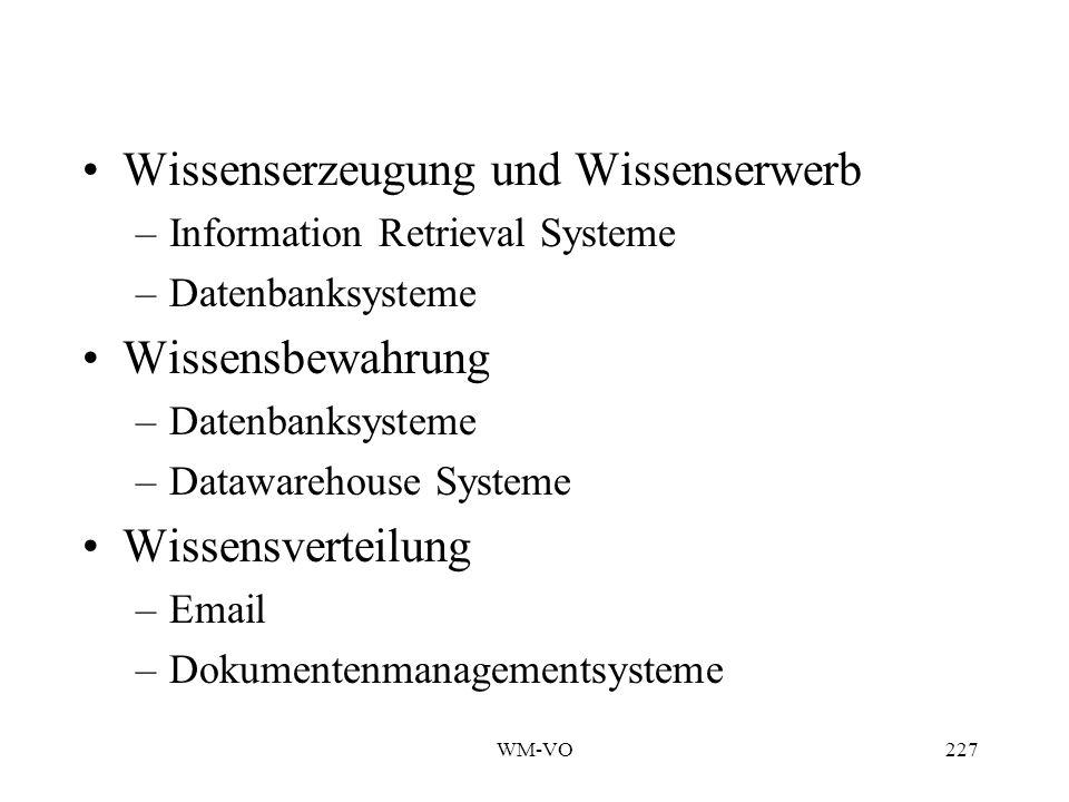 WM-VO227 Wissenserzeugung und Wissenserwerb –Information Retrieval Systeme –Datenbanksysteme Wissensbewahrung –Datenbanksysteme –Datawarehouse Systeme Wissensverteilung –Email –Dokumentenmanagementsysteme