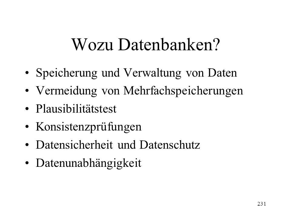231 Wozu Datenbanken.
