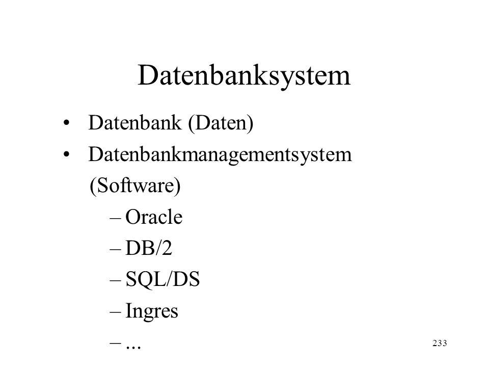 233 Datenbanksystem Datenbank (Daten) Datenbankmanagementsystem (Software) –Oracle –DB/2 –SQL/DS –Ingres –...