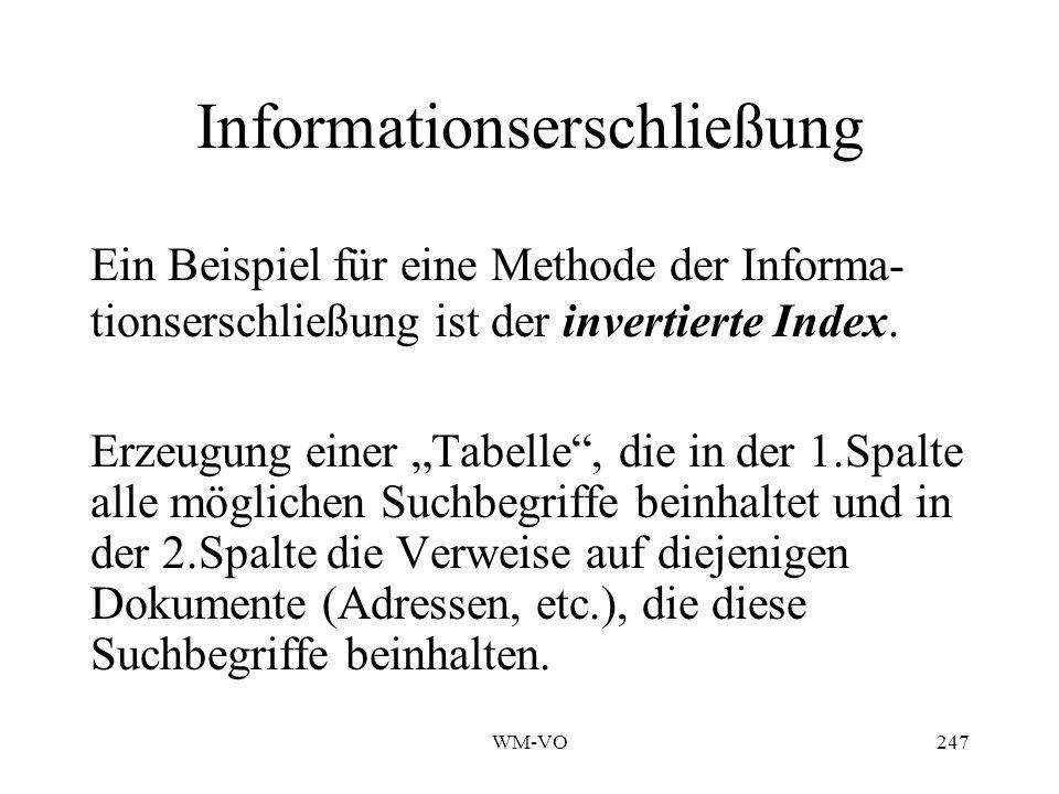 WM-VO247 Informationserschließung Ein Beispiel für eine Methode der Informa- tionserschließung ist der invertierte Index.