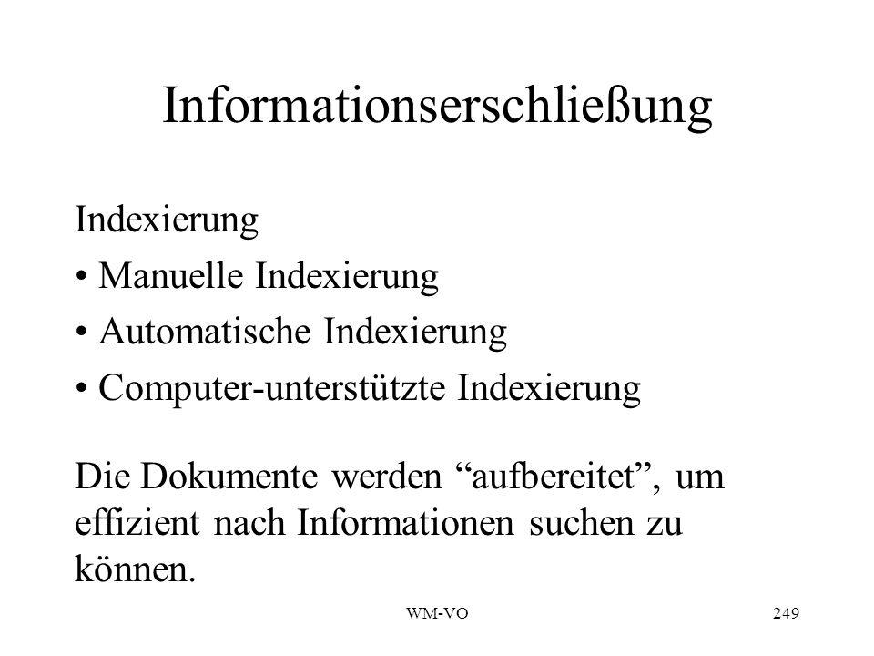 WM-VO249 Informationserschließung Indexierung Manuelle Indexierung Automatische Indexierung Computer-unterstützte Indexierung Die Dokumente werden aufbereitet, um effizient nach Informationen suchen zu können.