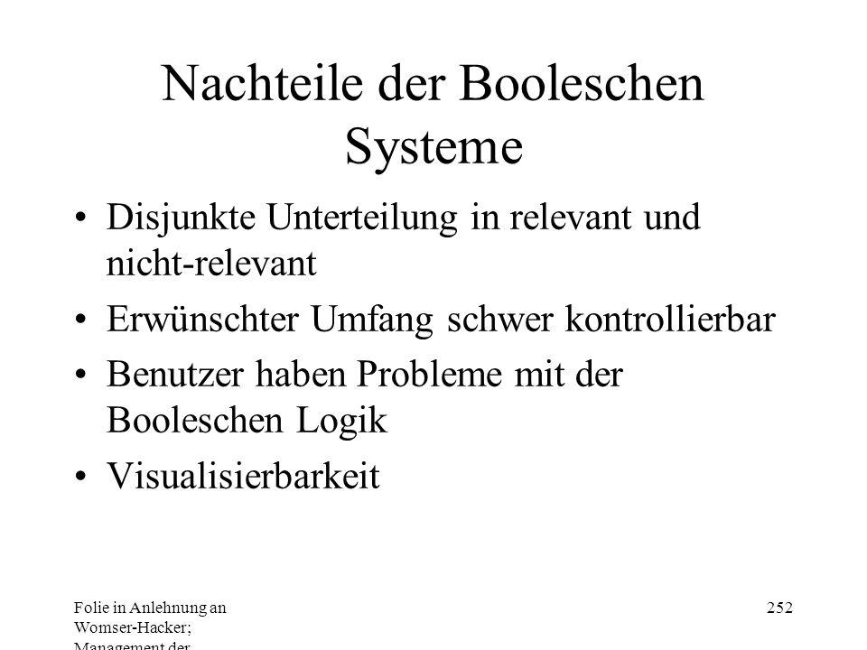 Folie in Anlehnung an Womser-Hacker; Management der Informationssysteme 252 Nachteile der Booleschen Systeme Disjunkte Unterteilung in relevant und nicht-relevant Erwünschter Umfang schwer kontrollierbar Benutzer haben Probleme mit der Booleschen Logik Visualisierbarkeit