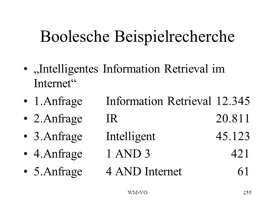 WM-VO255 Boolesche Beispielrecherche Intelligentes Information Retrieval im Internet 1.AnfrageInformation Retrieval 12.345 2.Anfrage IR 20.811 3.AnfrageIntelligent45.123 4.Anfrage 1 AND 3 421 5.Anfrage 4 AND Internet 61