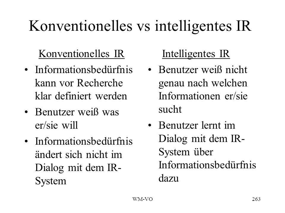 WM-VO263 Konventionelles vs intelligentes IR Konventionelles IR Informationsbedürfnis kann vor Recherche klar definiert werden Benutzer weiß was er/sie will Informationsbedürfnis ändert sich nicht im Dialog mit dem IR- System Intelligentes IR Benutzer weiß nicht genau nach welchen Informationen er/sie sucht Benutzer lernt im Dialog mit dem IR- System über Informationsbedürfnis dazu