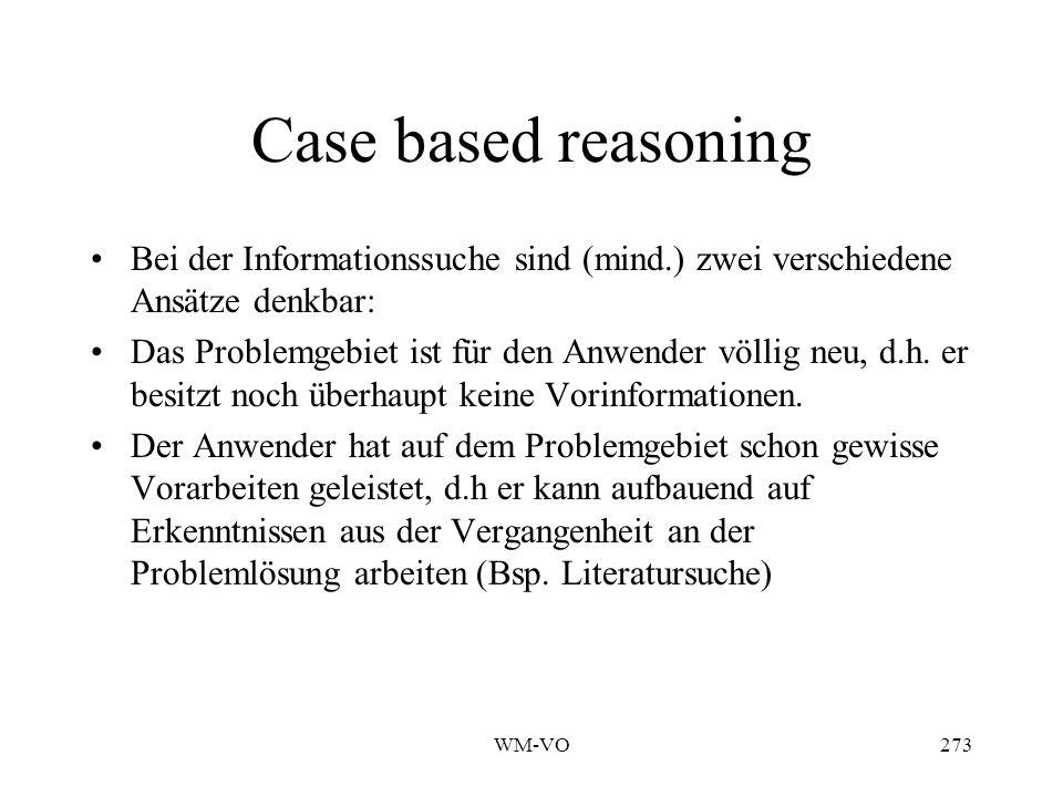 WM-VO273 Case based reasoning Bei der Informationssuche sind (mind.) zwei verschiedene Ansätze denkbar: Das Problemgebiet ist für den Anwender völlig neu, d.h.
