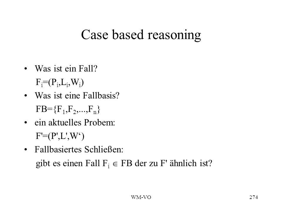 WM-VO274 Case based reasoning Was ist ein Fall.F i =(P i,L i,W i ) Was ist eine Fallbasis.