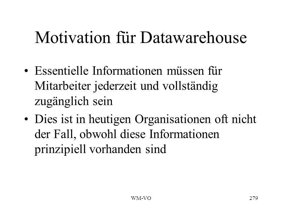 WM-VO279 Motivation für Datawarehouse Essentielle Informationen müssen für Mitarbeiter jederzeit und vollständig zugänglich sein Dies ist in heutigen Organisationen oft nicht der Fall, obwohl diese Informationen prinzipiell vorhanden sind
