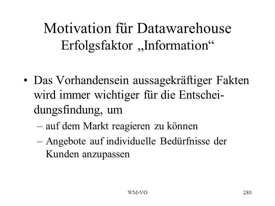 WM-VO280 Motivation für Datawarehouse Erfolgsfaktor Information Das Vorhandensein aussagekräftiger Fakten wird immer wichtiger für die Entschei- dungsfindung, um –auf dem Markt reagieren zu können –Angebote auf individuelle Bedürfnisse der Kunden anzupassen