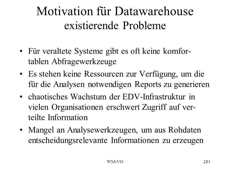 WM-VO281 Motivation für Datawarehouse existierende Probleme Für veraltete Systeme gibt es oft keine komfor- tablen Abfragewerkzeuge Es stehen keine Ressourcen zur Verfügung, um die für die Analysen notwendigen Reports zu generieren chaotisches Wachstum der EDV-Infrastruktur in vielen Organisationen erschwert Zugriff auf ver- teilte Information Mangel an Analysewerkzeugen, um aus Rohdaten entscheidungsrelevante Informationen zu erzeugen