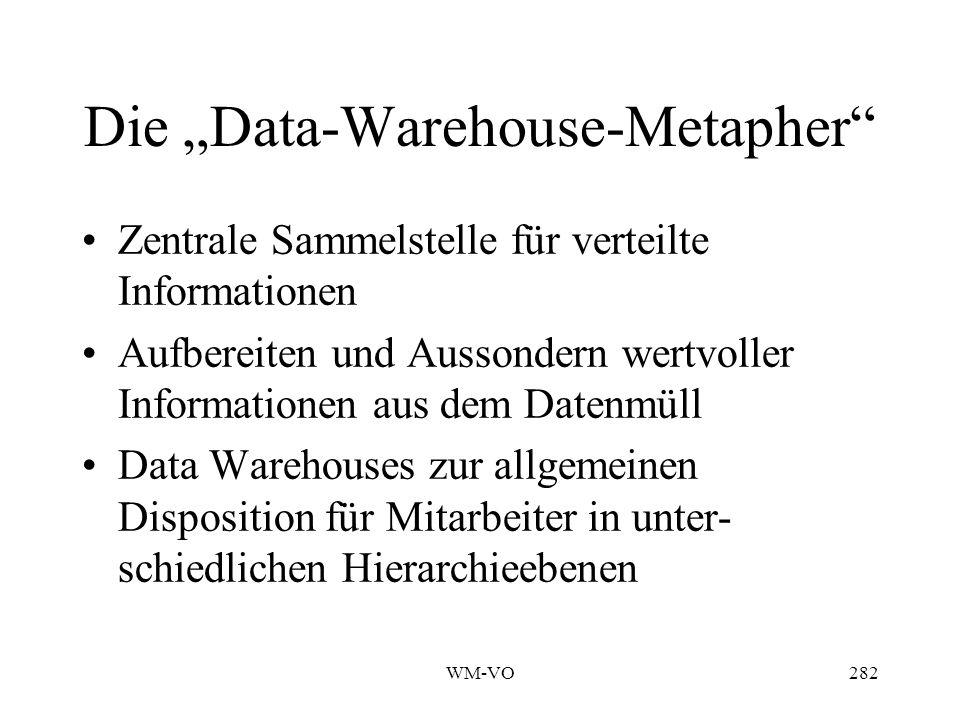 WM-VO282 Die Data-Warehouse-Metapher Zentrale Sammelstelle für verteilte Informationen Aufbereiten und Aussondern wertvoller Informationen aus dem Datenmüll Data Warehouses zur allgemeinen Disposition für Mitarbeiter in unter- schiedlichen Hierarchieebenen