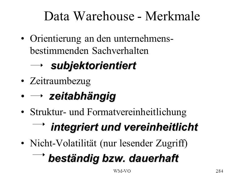 WM-VO284 Data Warehouse - Merkmale Orientierung an den unternehmens- bestimmenden Sachverhalten subjektorientiert Zeitraumbezug zeitabhängig Struktur- und Formatvereinheitlichung integriert und vereinheitlicht Nicht-Volatilität (nur lesender Zugriff) beständig bzw.