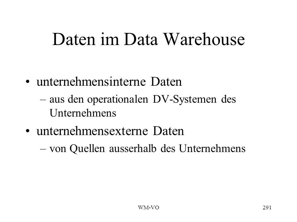 WM-VO291 Daten im Data Warehouse unternehmensinterne Daten –aus den operationalen DV-Systemen des Unternehmens unternehmensexterne Daten –von Quellen ausserhalb des Unternehmens