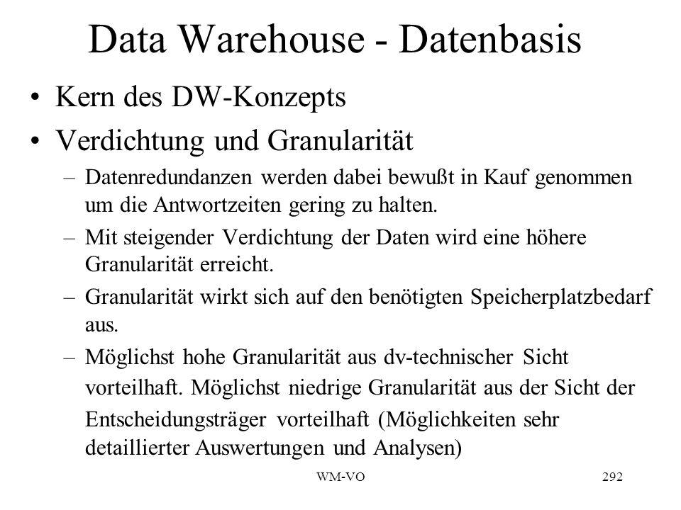 WM-VO292 Data Warehouse - Datenbasis Kern des DW-Konzepts Verdichtung und Granularität –Datenredundanzen werden dabei bewußt in Kauf genommen um die Antwortzeiten gering zu halten.