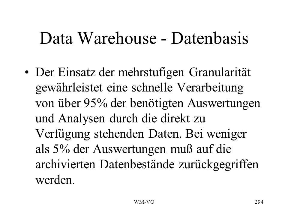 WM-VO294 Data Warehouse - Datenbasis Der Einsatz der mehrstufigen Granularität gewährleistet eine schnelle Verarbeitung von über 95% der benötigten Auswertungen und Analysen durch die direkt zu Verfügung stehenden Daten.
