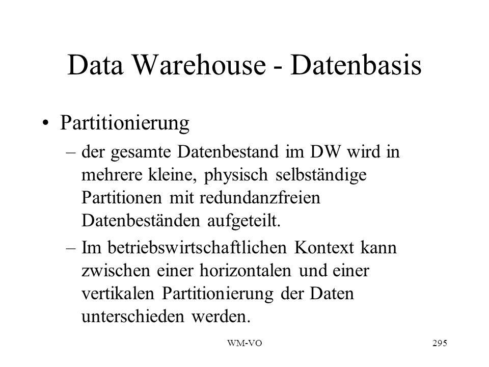 WM-VO295 Data Warehouse - Datenbasis Partitionierung –der gesamte Datenbestand im DW wird in mehrere kleine, physisch selbständige Partitionen mit redundanzfreien Datenbeständen aufgeteilt.