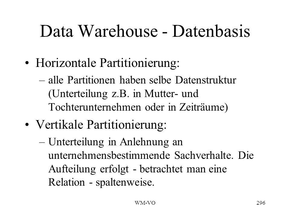 WM-VO296 Data Warehouse - Datenbasis Horizontale Partitionierung: –alle Partitionen haben selbe Datenstruktur (Unterteilung z.B.
